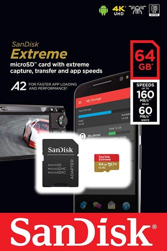 Sandisk Extreme MicroSd 64 GB with SD adapter